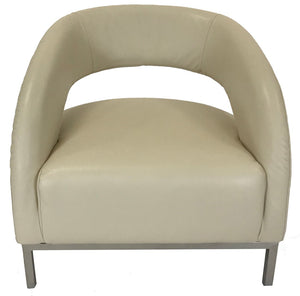 Kuka A013 Occasional Chair in Cream Leather and Metal Legs
