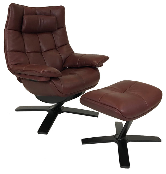 Natuzzi Quilted 600Q Recliner & Ottoman in Burgundy Leather and a Black Base