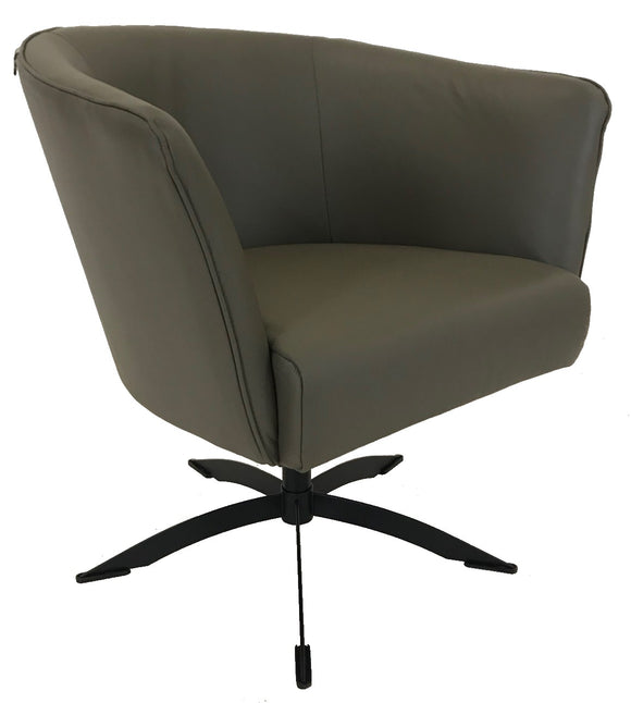 Hjort Knudsen 1434 Occasional Chair with Granite Leather Seat and Metal Legs