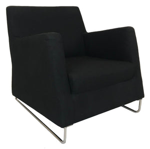 Boliya B09/1 Easy Chair with Black Fabric and Metal Legs