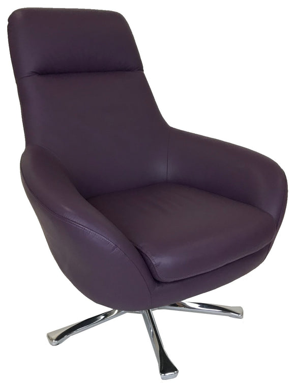 Kuka A-651 Occasional Chair in Purple Leather and Silver Legs