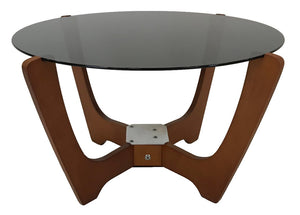IMG Luna Coffee Table with a Black Glass Top and Teak Legs