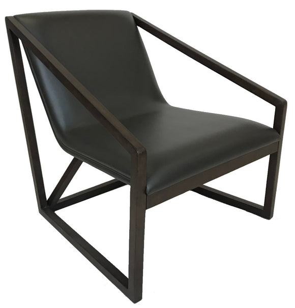 Bellini Imports Molly Occasional Chair in a Dark Grey Leather and Wood Legs