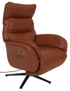 Kuka A1169 Recliner With Ottoman with Orange Leather and Black Legs