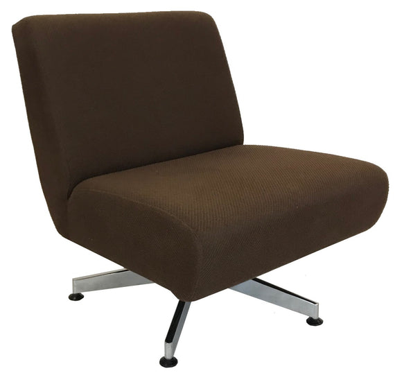 Comfortec Crystal Occasional Chair in Brown Fabric and Chrome Legs