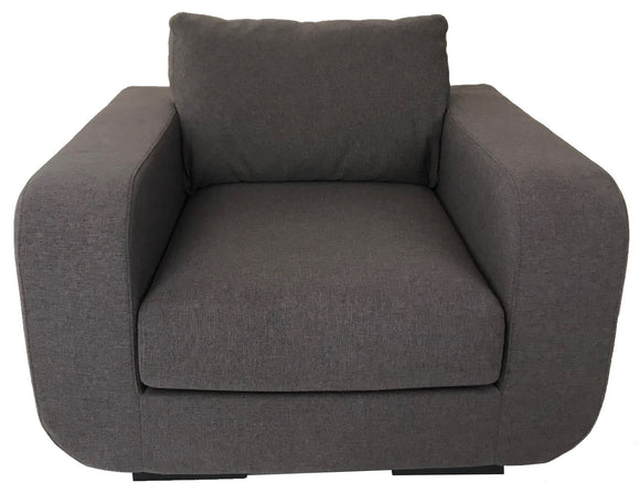 Boliya B9008 Occasional Chair in Brown/Grey Fabric and Wood Legs