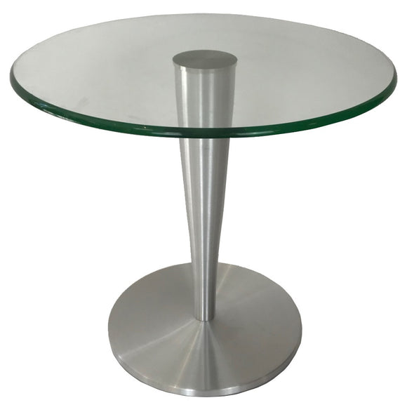Andrew Pearson Design 200 Juniper End Table with a Glass Top and Silver Base