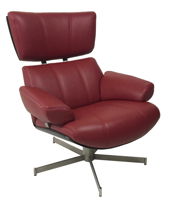 BDFU 8085 Bond Occasional Chair with Red Leather, Black Wood, and Metal Base