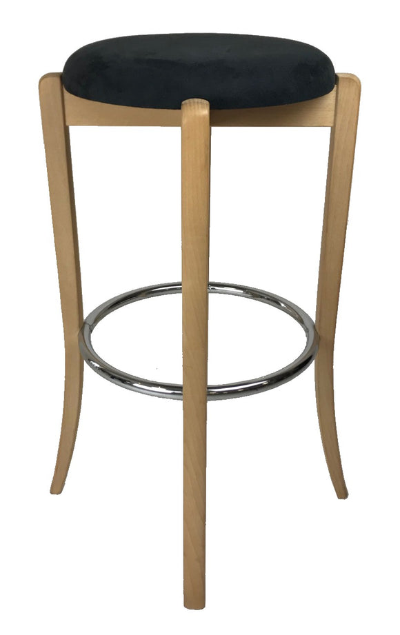 J.L. Moller 19 Barstool in Black Fabric, Beech Wood and a Metal Footrest