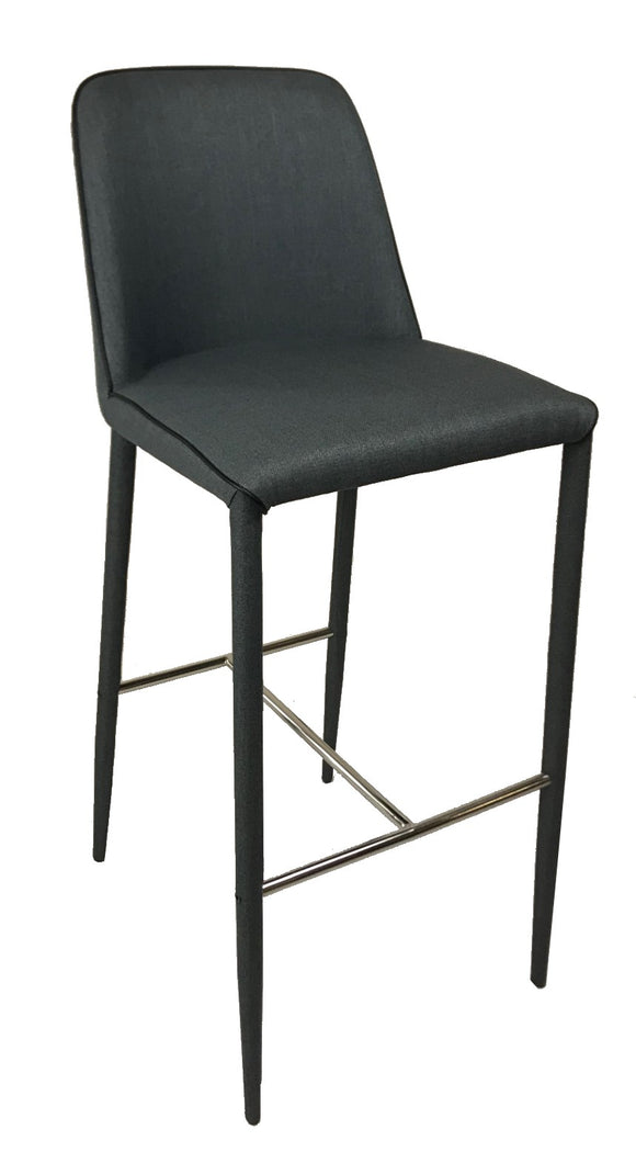 Actona Avanja Barstool in a Dark Grey Fabric and a Metal Footrest
