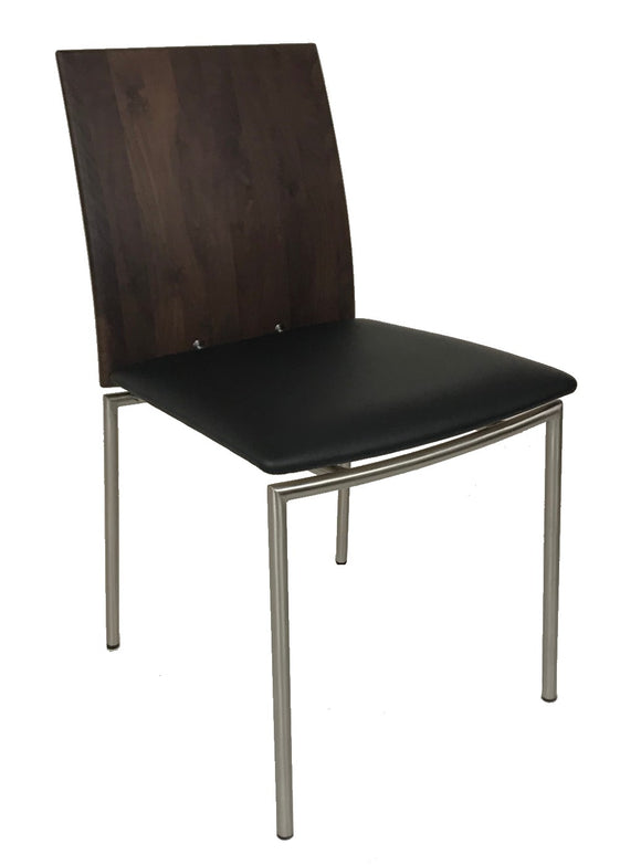 Skovby SM 98 Dining Chair with a Black Leather Seat, Walnut Back and Metal Legs