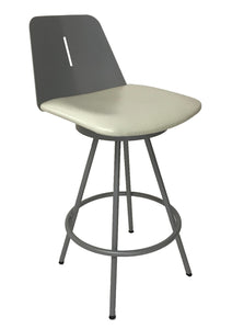 Amisco 41483 Icon Counter Stool in White Leather and Metal