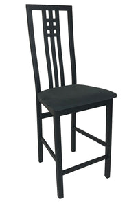 IMS Scala Counter Stool with a Black Fabric Seat and Black Wood Base