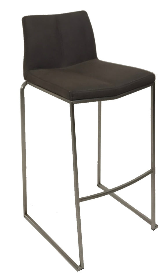 Dan-Form Split Barstool in a Dark Brown Fabric with a Metal Base