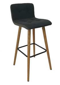 Actona Frida Barstool in Light Grey Fabric with an Oak Base