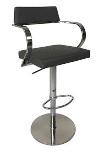 Ital Studio Elva C344G-ADJ Barstool with a Grey Leather Seat and Chrome Base