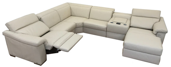 Natuzzi Editions B760 Simbiosi Reclining Sectional in Beige Leather and Wenge Wood
