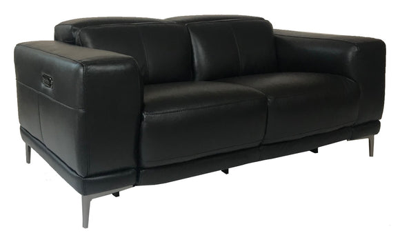 HTL RS-11897 Loveseat Recliner in Black Leather and Metal Legs