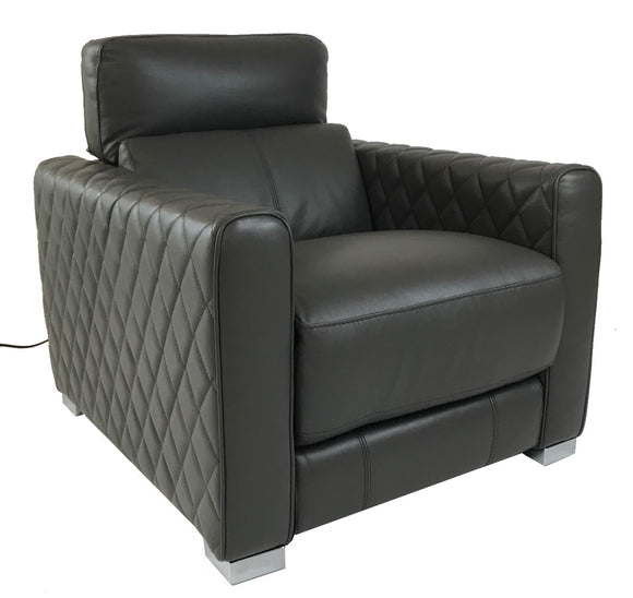 HTL RS-12051 Recliner in Graphite Leather and Metal Legs