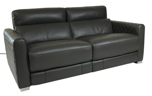 HTL RS-12051 Sofa Recliner in Graphite Leather and Metal Legs