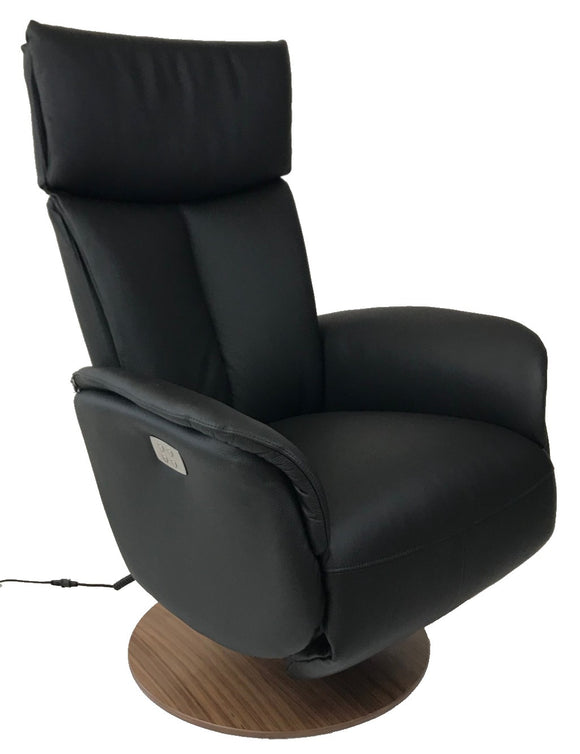 Hjort Knudsen 7068 SlimLine Recliner with a Black Leather Seat and Walnut Base