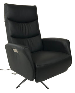 Hjort Knudsen 8005 Superior Recliner in Black Leather and Metal Base