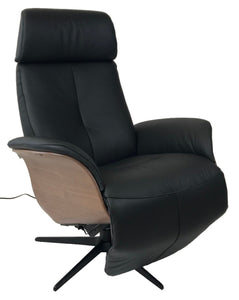 Hjort Knudsen 7600 Balance Recliner with a Black Leather Seat, Lacquered Walnut Side Panels, and a Black Base