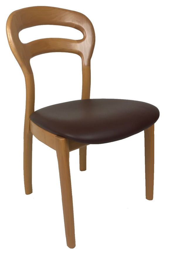 J.L. Moller 355 Dining Chair with a Brown Leather Seat and Steamed Beech Frame