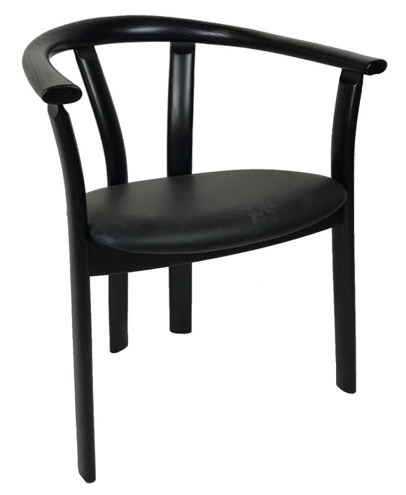J.L. Moller Roma Armchair in Black Wood with a Black Leather Seat