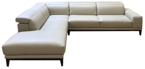 Natuzzi Italia LAF 2826 Borghese Sectional in Seashell Leather and Dark Legs