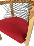 Tranekaer 252 Dining Chair in Maple Wood; a Red Fabric Seat; and a Black Mesh Back