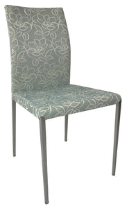 IMS Miro Dining Chair in Blue/Grey Fabric with White Flowers and Metal Legs