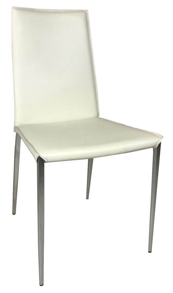 Ital Studio C485 Mina Dining Chair in White Leather and Chrome Legs