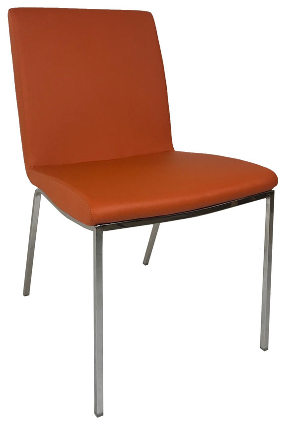 Bellini Imports Stella Dining Chair in Orange Leather and Metal Legs