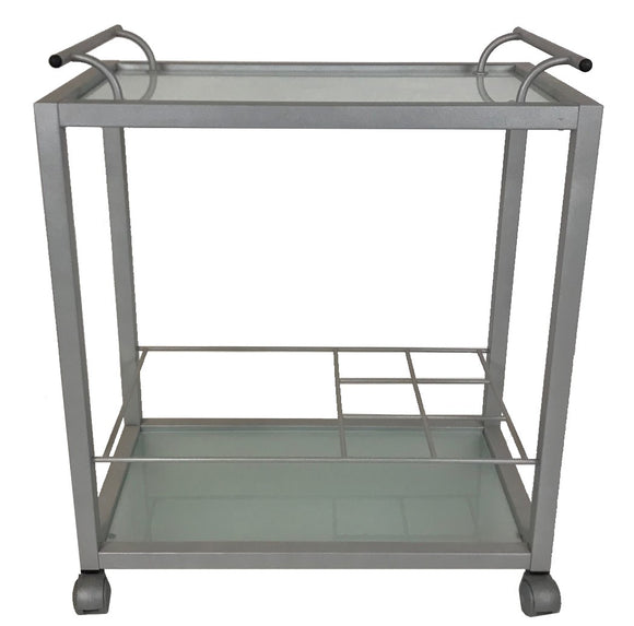 IMS Zen Bar Cart with Frosted Glass and Aluminum