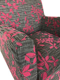 Boliya B09/1 Easy Chair with Black & White w/ Pink Fabric and Chrome Legs