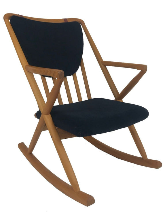 Sun Cabinet BL32 Rocking Chair in Teak with Black Fabric Seat