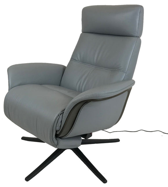 Img Space 5100 Recliner in Grey Leather, Grey Ash Wood, and a Black Aluminum Star Base
