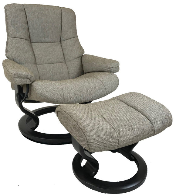 Ekornes Stressless Mayfair Large Recliner with Ottoman in Dark Beige Fabric with a Wenge Wood Classic Base