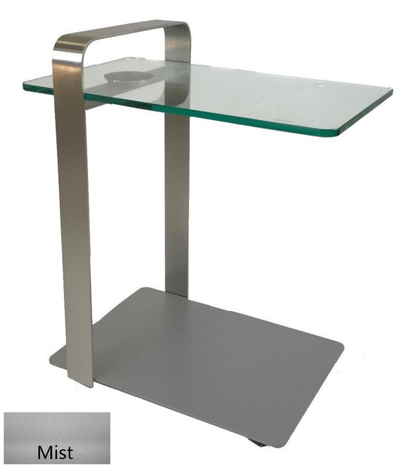 Elite Modern Deco Laptop Cart Mist; Champagne-Plated Steel; Glass Accent Table