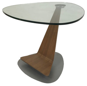 Elite Modern Triplex 2031 End Table with a Glass Top, Walnut Arm, and Mist Base