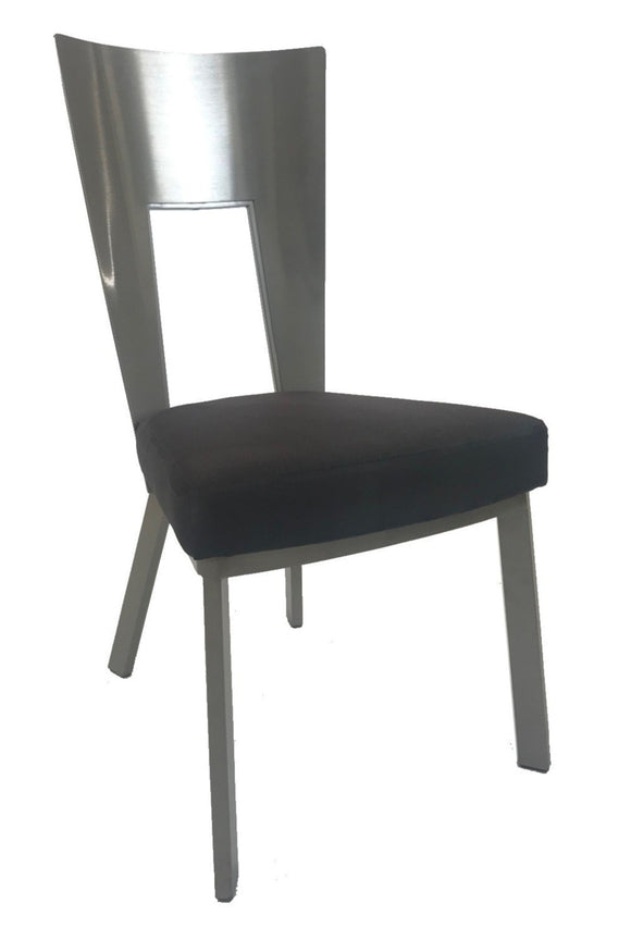 Elite Modern Regal Dining Chair in Raven Black Fabric, Topaz Legs, and a Champagne-Plated Back