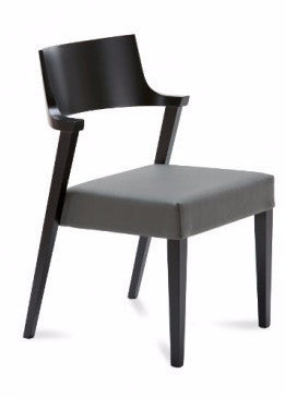 Domitalia Lirica Black Laquered Grey Leather Dining Chair