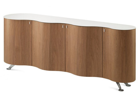 Domitalia Palio Natural Walnut White Glass Curved Wood Sideboard Storage