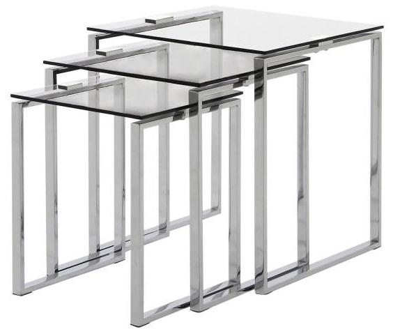 Actona Katrine Nesting Tables Clear Glass; Metal Chrome Base