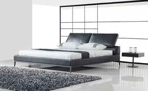 Mercatus John King Bed in Black with White Piping