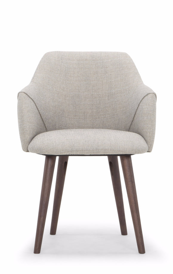 Scandinavian Design Dine Dining Chair in a Mole Color Venga Fabric Seat and Walnut Legs