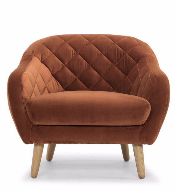 Scandinavian Design Diamond Chair in a Rust Color Sapphire Fabric Seat and Oak Wood Legs