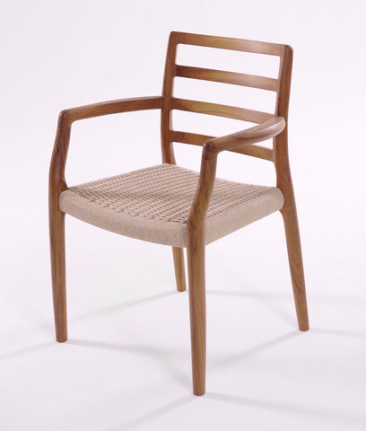 J.L. Moller 68 Teak Rope Dining Chair High Back