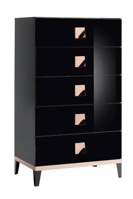 ALF Italia Mont Noir High Chest 5 Drawer Black High Gloss Metallic Handle
